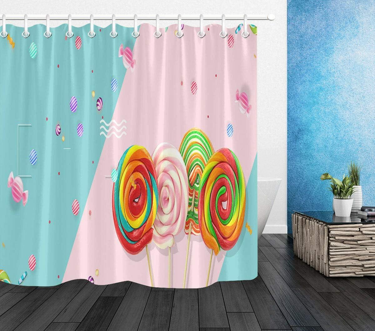 WvtsUcykyga Colored Lollipops 100/% Poliestere Tenda da Doccia con Ganci 183 x 183 cm