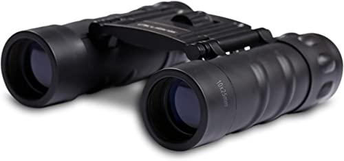 Okularis 10x25mm Compact Binoculars with Protective Rubber Armoring, Soft Case and Strap