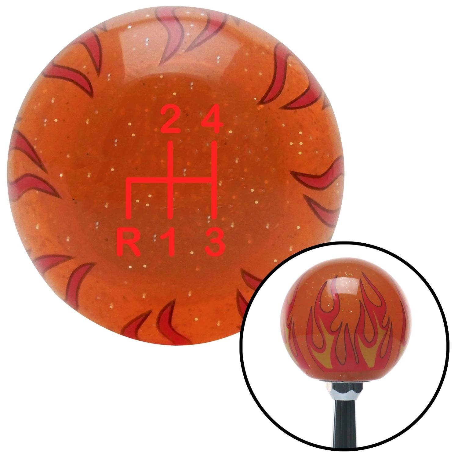 Red Shift Pattern 2n American Shifter 259390 Orange Flame Metal Flake Shift Knob with M16 x 1.5 Insert