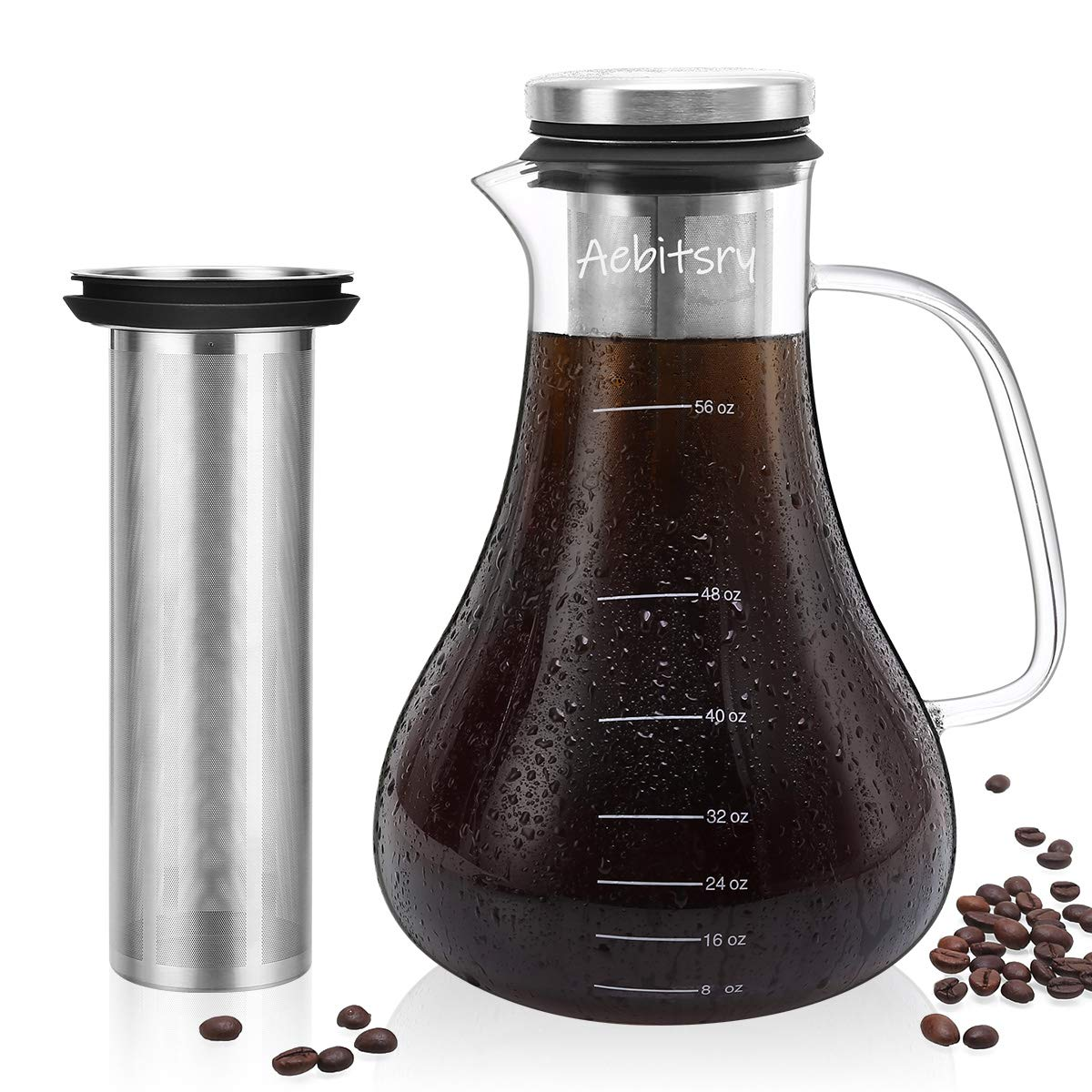 Aebitsry Cold Brew Coffee Maker, (56oz) For Homemade Iced or Hot Coffee Maker Brewer Pitcher, Airtight Thick Glass Tea Pot Infuser Carafe with Ultra Mesh Removable Stainless Steel Filter and Seal Lid