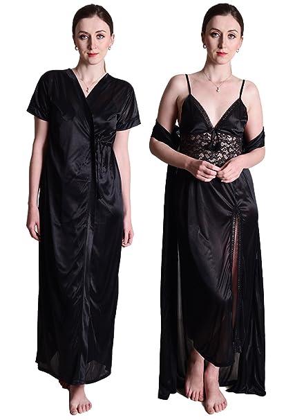 1dff294bb8 Senslife Satin Purple Nightwear Sleepwear 2 Pc Set of Nighty   Wrap Gown  SL003 (Black