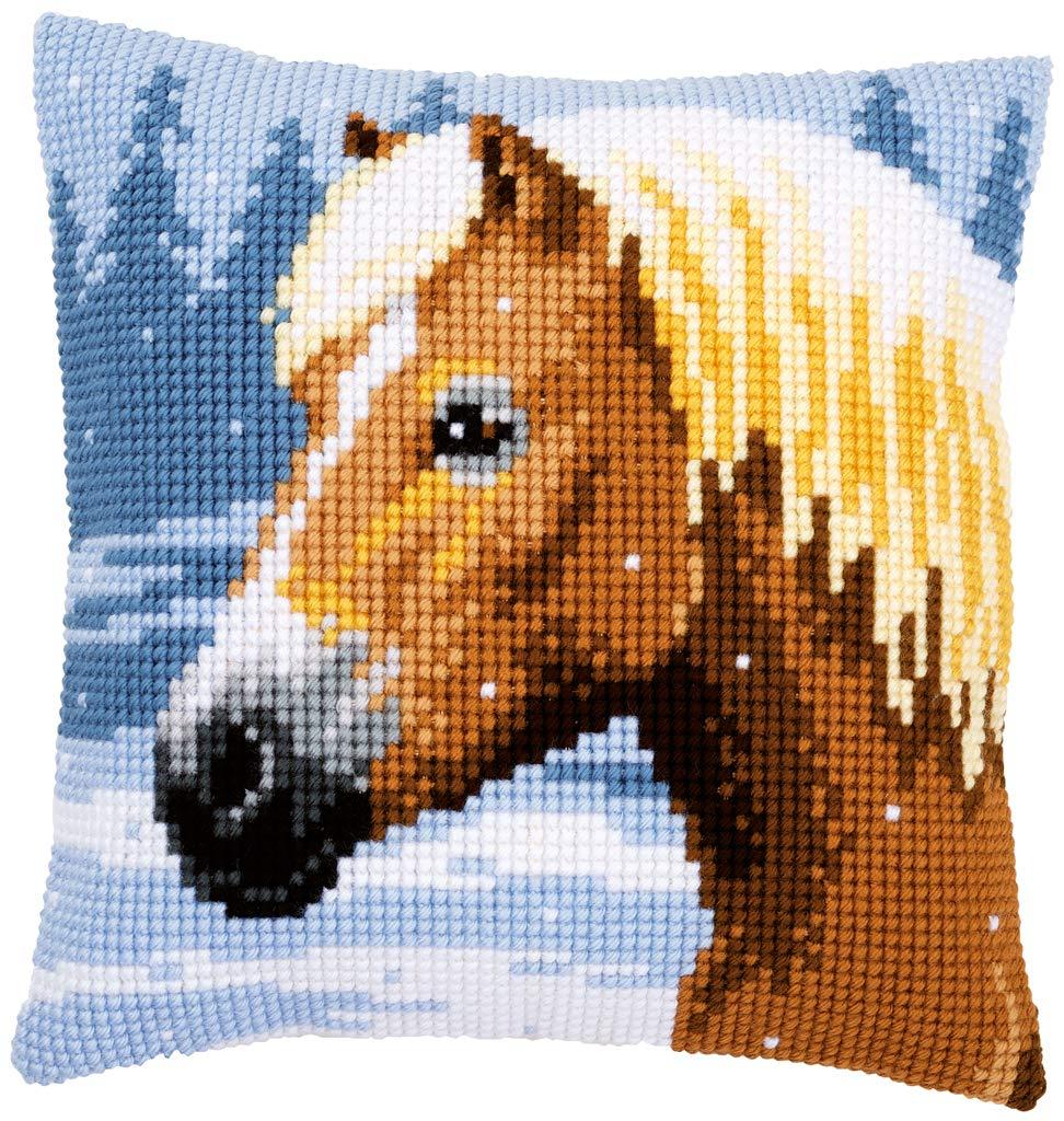 motivo: cavallo e neve 40/x 40/cm /Cuscino kit punto croce Vervaco/ N \ a