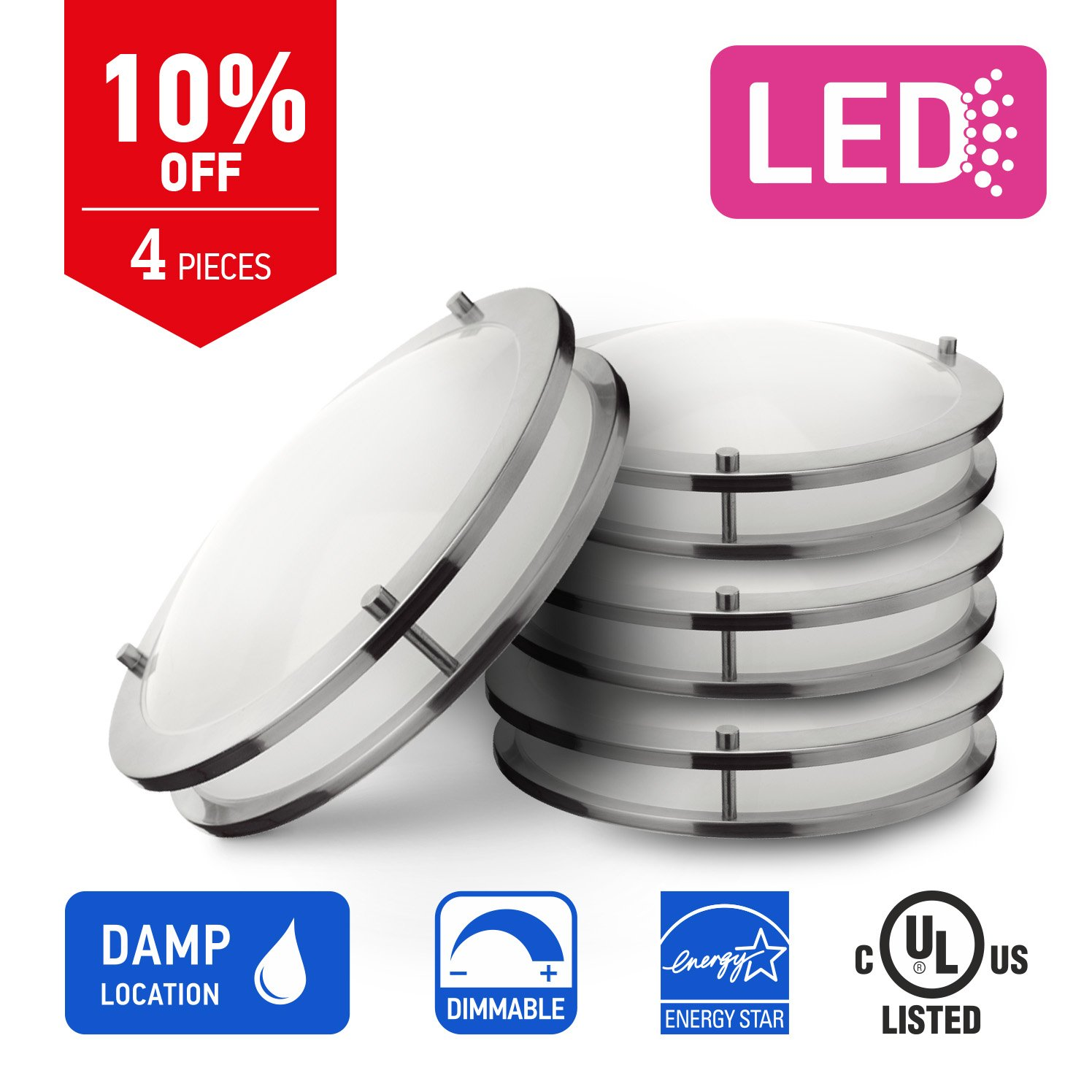 In Homeフラッシュマウントダブルリング 1 Pack IH-LFMDR-12D1550-NK B078J6P4SF 1 Pack,12