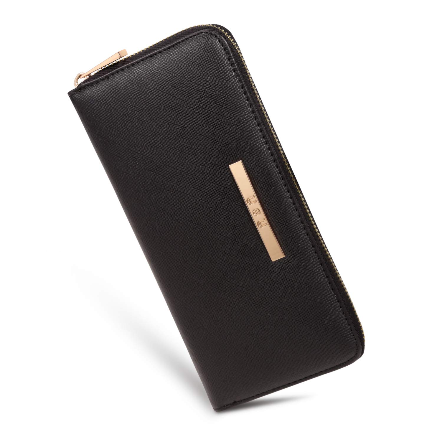 U+U Womens Leather Wallet RFID Blocking Card Holder Cellphone Clutch Ladies Purse with 8 Card Slots