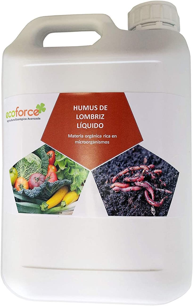 CULTIVERS Humus Líquido de Lombriz Ecológico de 5 l. Materia Orgánica Rica en Microorganismos. Regenerador de la Vida del Suelo