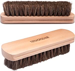 Fasmov 100% Natural Fine Horsehair Soft Leather Cleaning Brush for Cleaning Upholstery, Cleaner Car Interior, Upholstery Furniture, Couch, Sofa, Boots, Shoes and More, Pack of 2