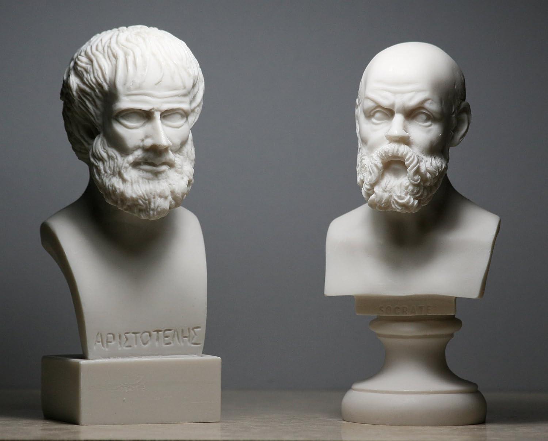 Socrates & Aristotle Greek Philosopher Bust Head Set Statue Sculpture Handmade