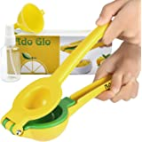 Ado Glo Lemon Squeezer - Heavy Duty Metal Lime Juicer - Manual Citrus Press with Lemon Sprayer & Small Funnel (Orange)