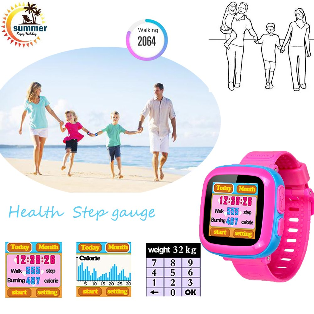 "Kids Game Watch Smart Watch For Kids Children's Birthday Gift With 1.5 "" Touch Screen And 10 Games, Children's Watch Pedometer Clock Smart Watch Kids Toys Boys Girls gift.(joint pink) by KKLE (Image #4)"