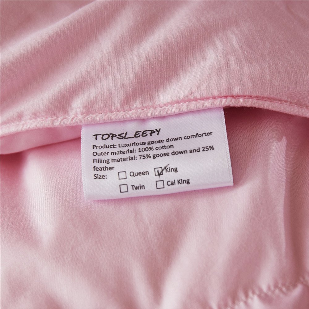 Topsleepy LUXURIOUS All Size 75% Goose Down Comforter ,1200TC 100% Cotton Shell Down Proof 750 Fill Power, 50 Oz Fill Weight ,LIGHT PINK Color,Hypo-allergenic (California King Size) by Topsleepy (Image #5)