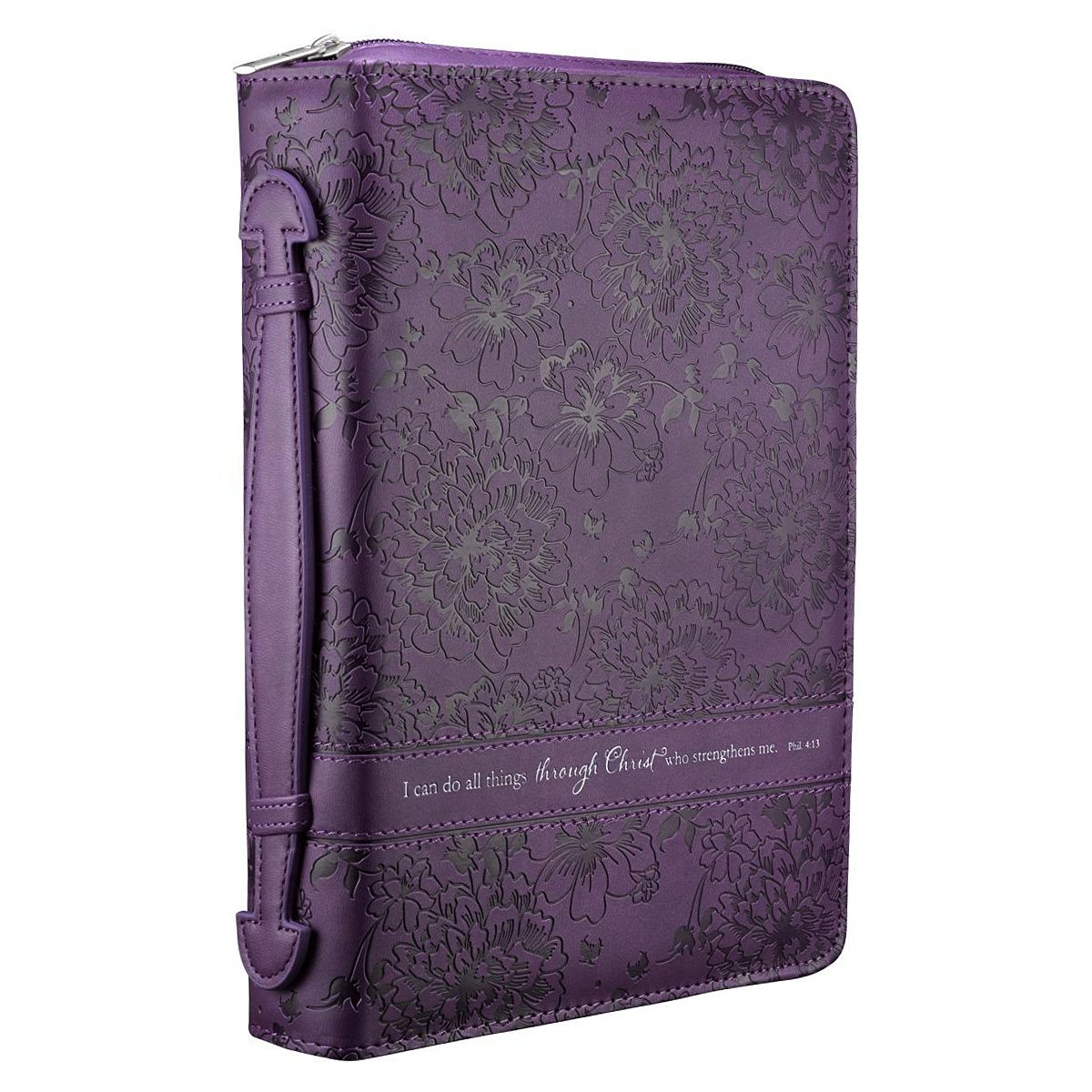 Purple Floral Bible / Book Cover - Philippians 4:13 (Large)