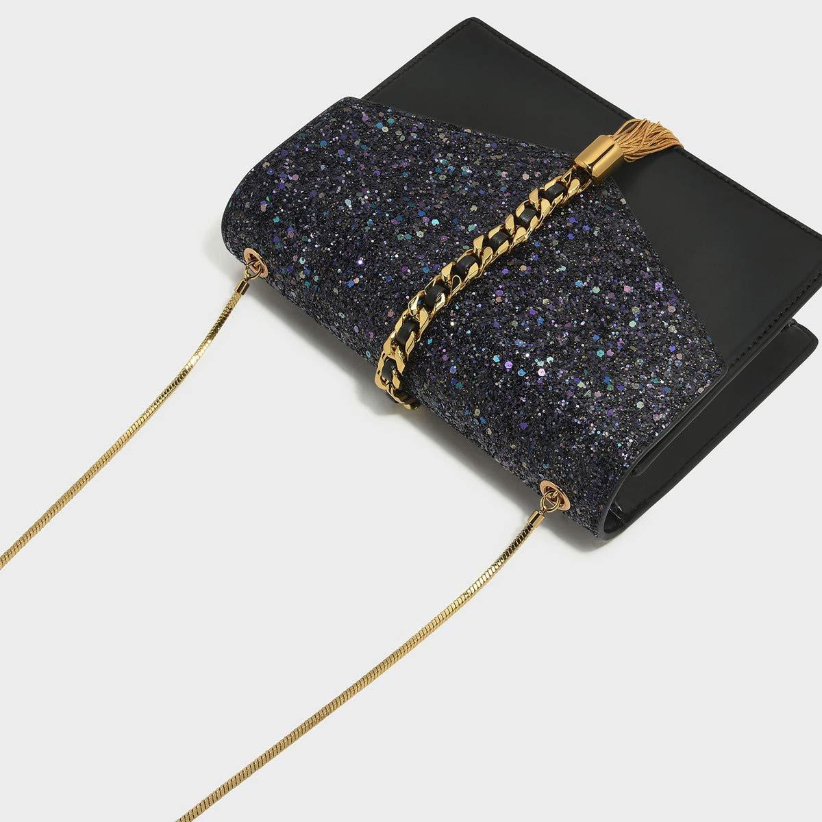 27a7fea5c8a0 Charles & Keith PU Tassel Detail Envelope Bag Small Chain Strap Shoulder  Handbag (Glitter Black): Handbags: Amazon.com
