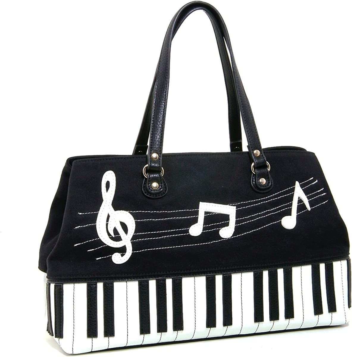 Piano and Music Key Notes Canvas with Leatherette Trim Doctor's Satchel (Black)