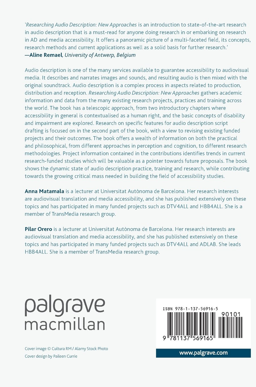 Researching Audio Description: New Approaches (Palgrave Studies in Translating and Interpreting)