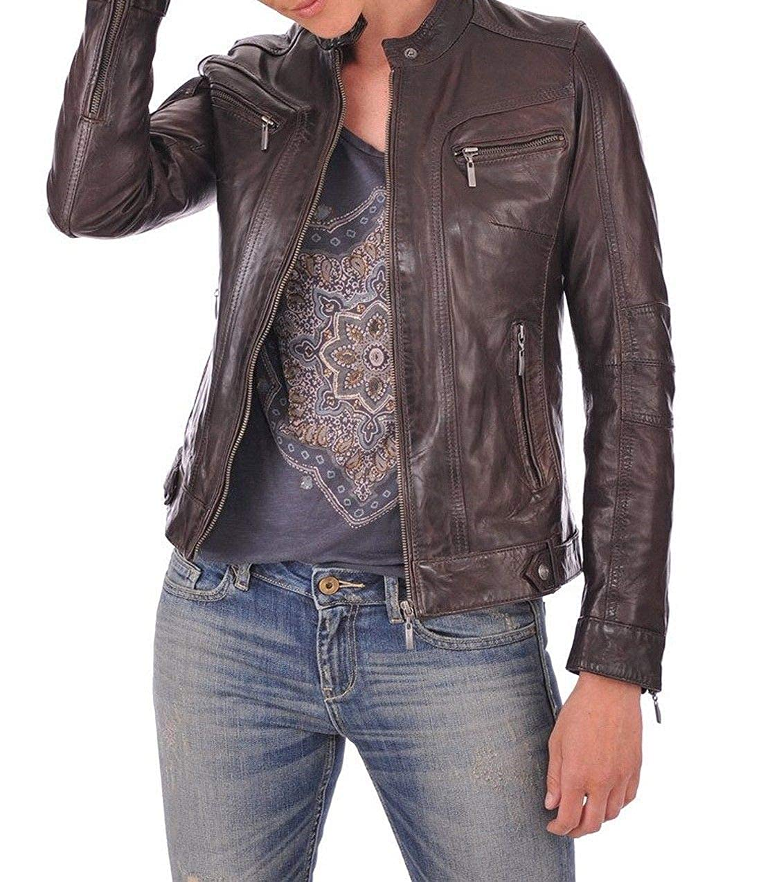 Brown102rc DOLLY LAMB 100% Leather Jacket for Women  Round Collar, Slim Fit & Quilted  Moto, Bomber, Biker Winter Casual Wear