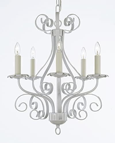 Wrought Iron Chandelier Lighting Country French White, 5 Light, Ceiling Fixture