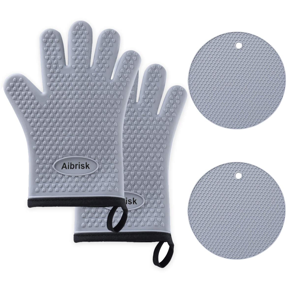 Aibrisk Silicone Oven Mitts and Pot Holders,4PCS Thicken Heat Resistant Flexible Non-Slip Surface Cooking Gloves and Potholders Trivet Mats for Safe Oven BBQ Kitchen Counter Hot Dishes or Pans(Gray)