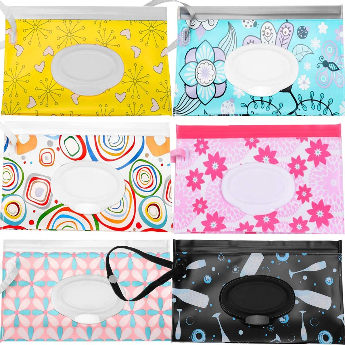 Reusable Wet Wipes Pouch Fiyuer 6 Pcs Baby Wet Wipes Travel Dispenser for Baby Personal Wipes Eco Friendly Wet Wipes Pouches