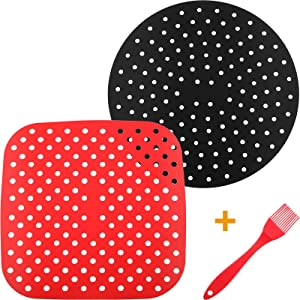 2 Pieces Reusable Air Fryer Liners Non-Stick Silicone Air Fryer Basket Mats with Silicone Brush for Easy Remove Tags Easy to Clean Extra Thick