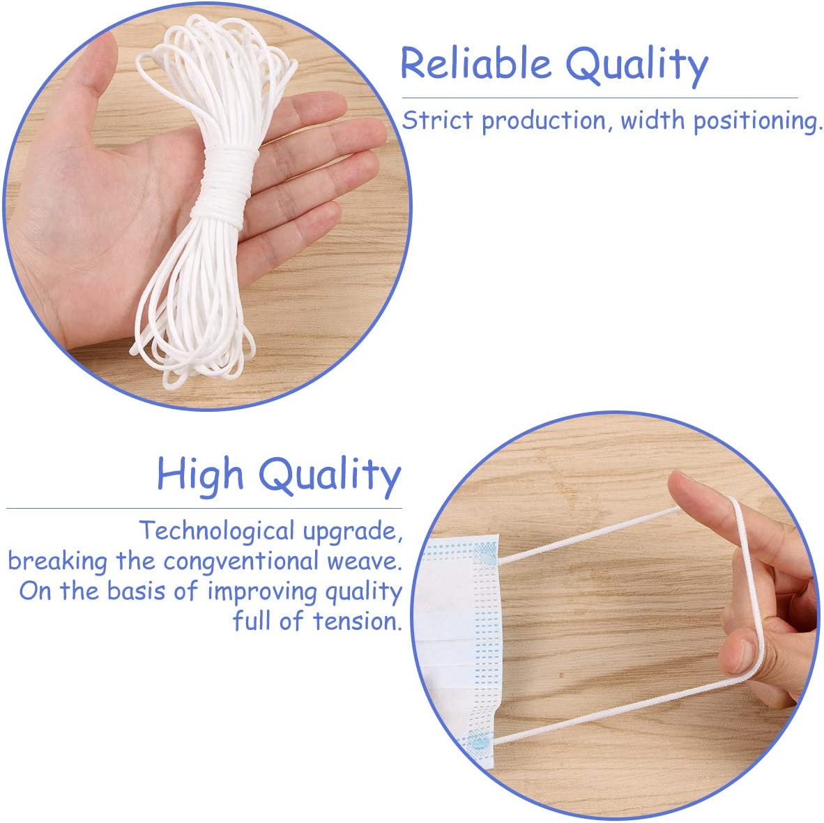 Evermarket White Elastic String Cord Elastic Rope Heavy Stretch High Elasticity Knit Strap 10 Yards Length 1//8 Width for Making Masks DIY Sewing Crafts Braided Elastic Band