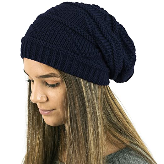 8e45fd499a3b1 TOSKATOK® Ladies Knit Slouch Winter Hat Beanie - Navy ... at Amazon ...