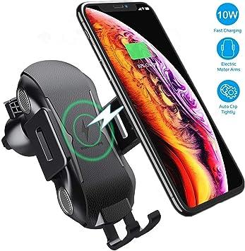 Hoidokly Cargador Inalámbrico Coche, 10W Qi Carga Rápida y Soporte Móvil Aplicable a Rejillas del Aire para iPhone X/XS/XR/8/8, Samsung s10/s10+/s9/s8 ...