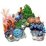 Gosear® Résine Aquarium Fish Tank Paysage Simulation Rocaille Shell Corail Eau Plante Décoration Accessoires