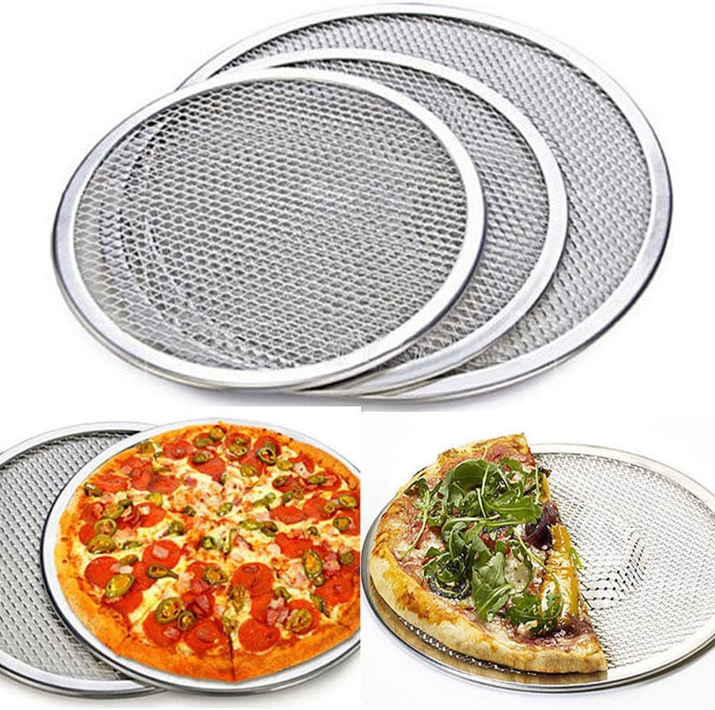 1pcs Aluminium Flat Mesh Pizza Screen Oven Baking Tray Net Bakeware Cookware(6 to14 inch for you choose)(14 inch)