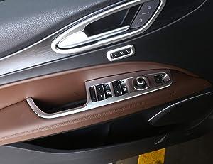 Left Hand Driver ABS Chrome Window Lift Switch Button Frame Cover Trim 4pcs For Alfa Romeo Stelvio 2017