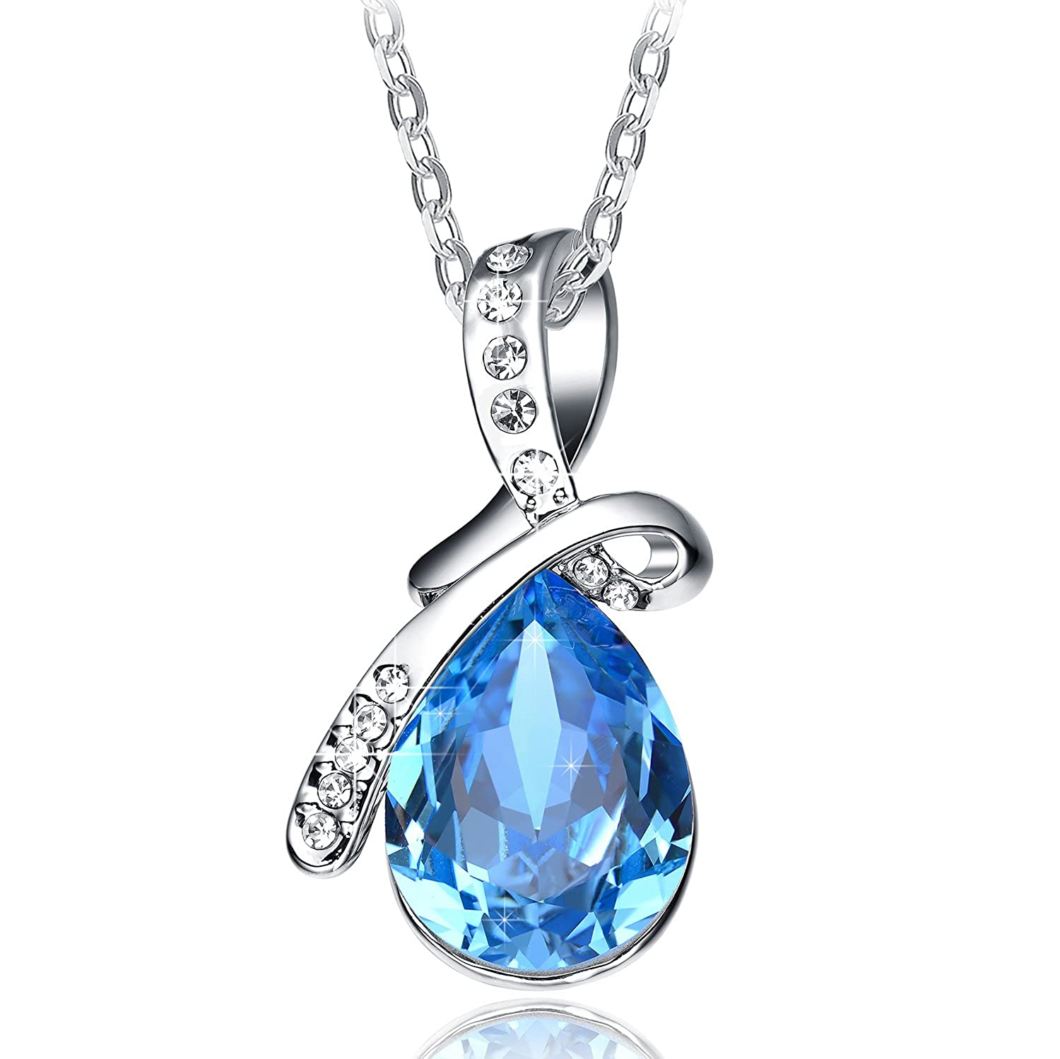 Mothers day gift sapphire blue crystal pendant necklace womens neemoda mozeypictures Choice Image