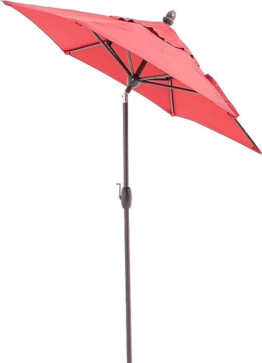 SORARA Lima Parasol Sombrilla Jardin, Rojo, Ø 230 cm, Manivela ...
