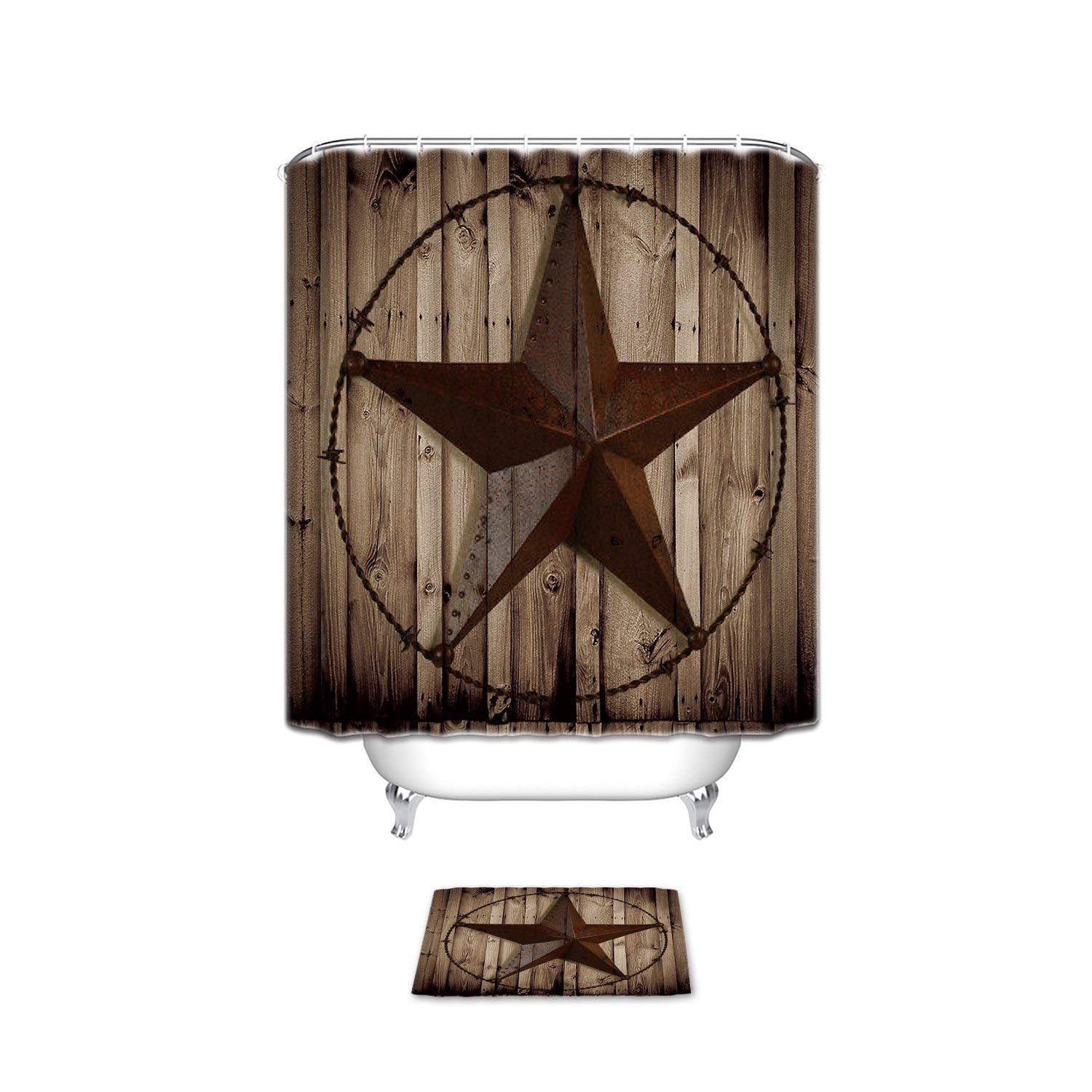 chic Extral Long Large Waterproof Western Texas Star On Brown Wood Barn Print Polyester Fabric Home Hotel Apartment Bathroom Shower Set Shower Curatin With Doormat Rugs 48 x 72inch & 23.6x15.7inch