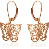 River Island Classic Sterling Silver Filigree Butterfly Leverback Dangle Earrings | Available in Silver, Rose and Yellow Gold.