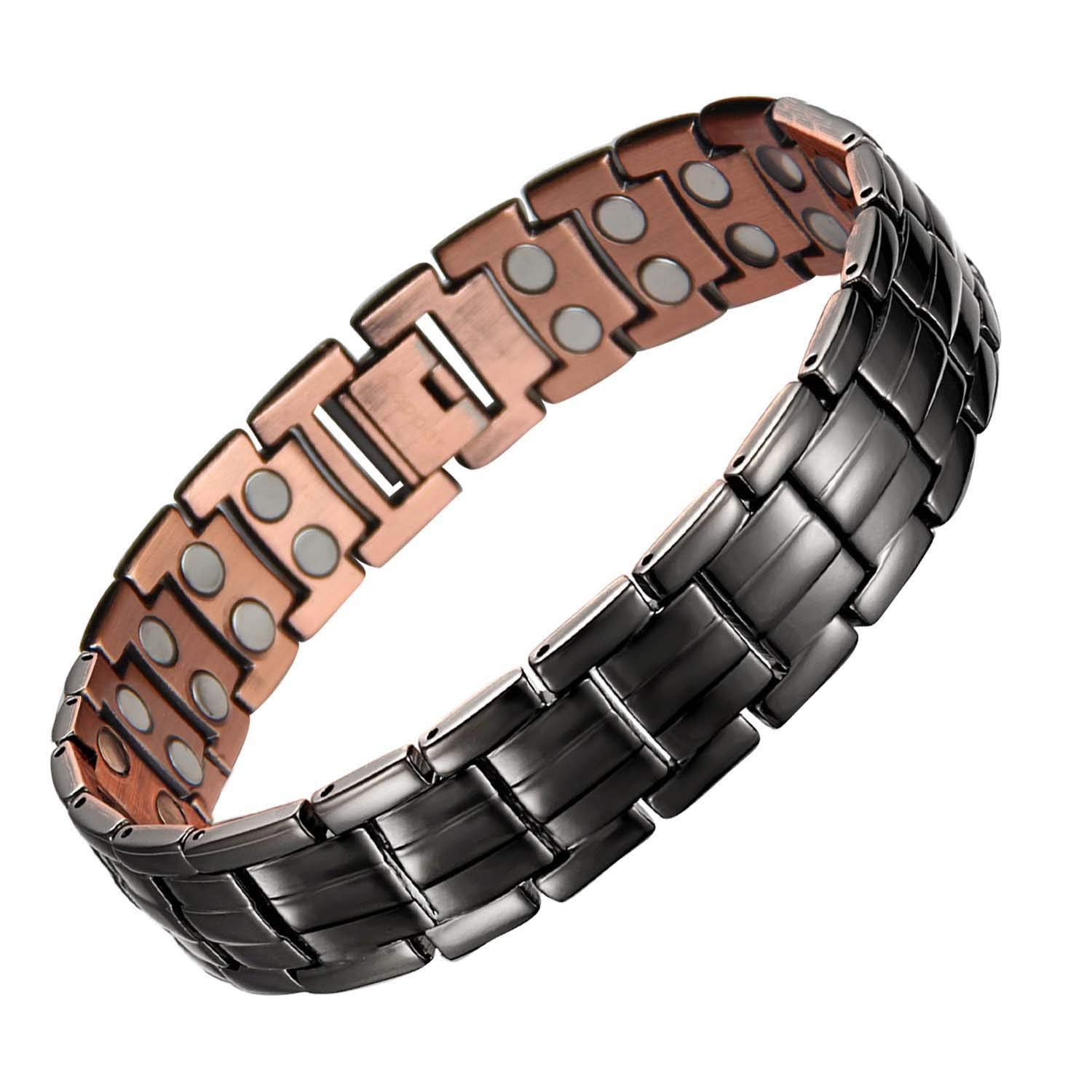 Mens Copper Bracelets 8.5'' Link Adjustable SizePure Copper with Double Raw 3000Gauss Magnets Pain Relief for Arthritis and Carpal Tunnel Migraines Tennis Elbow by MagEnergy
