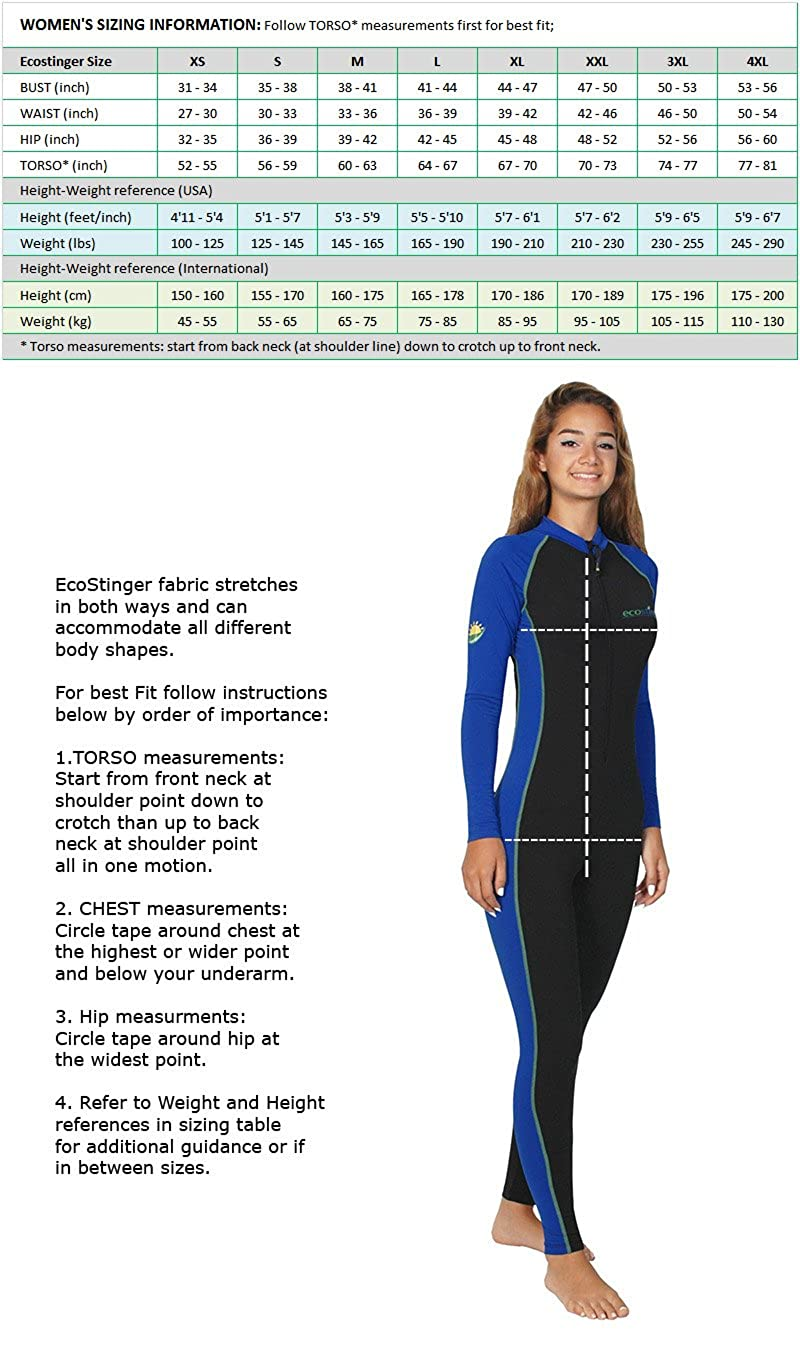d4813e635 Amazon.com  Women UV Swimsuit Full Body Stinger Suit Dive Skin Chlorine  Resistant Black Royal  Clothing