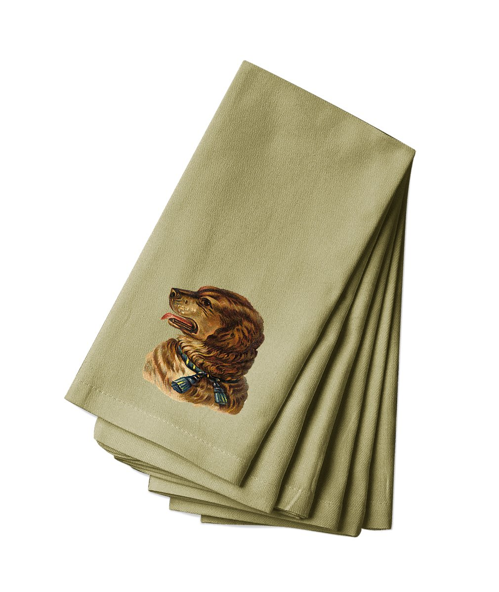 Style in Print Canvas Napkin Set Of 4 Dog With Blue Collar Pets Animals By