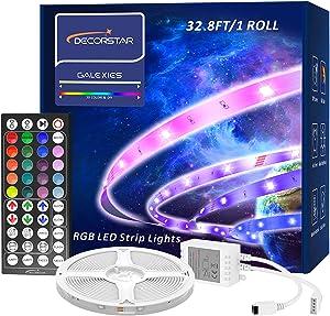DecorStar Led Strip Lights, 32.8ft Color Changing Led Lights with 44 Keys Remote Control , 5050 RGB Led Lights for Bedroom Kitchen Party Home Decoration(1 Roll)