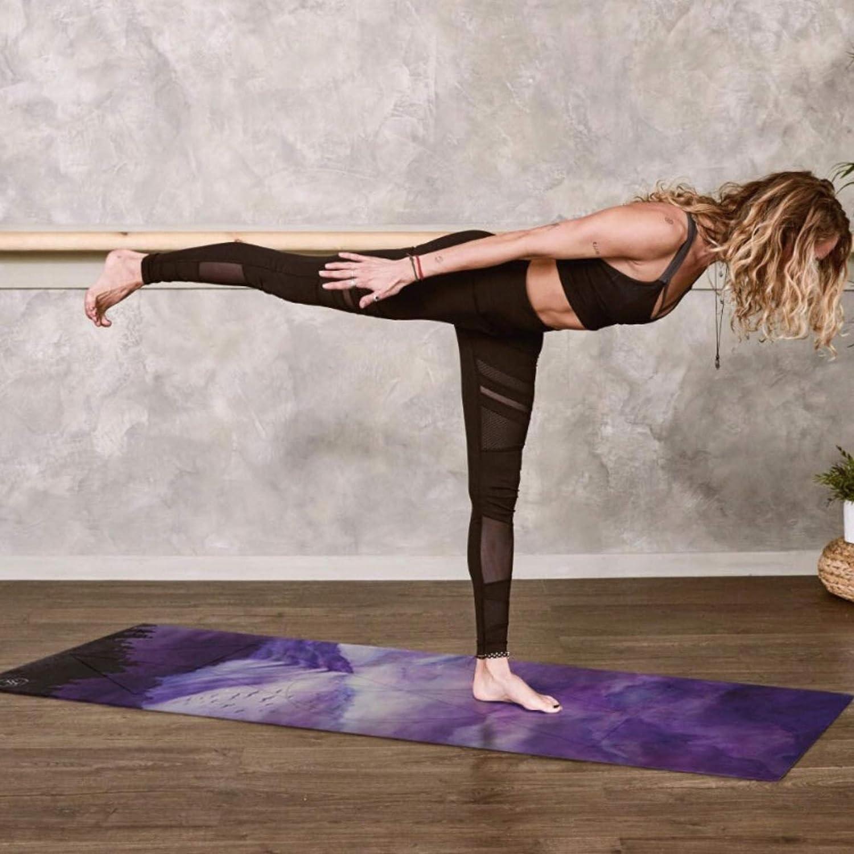 June & Juniper Travel Yoga Mat Foldable Lightweight - Thin Light Non-Slip Travel Yoga Mat Eco
