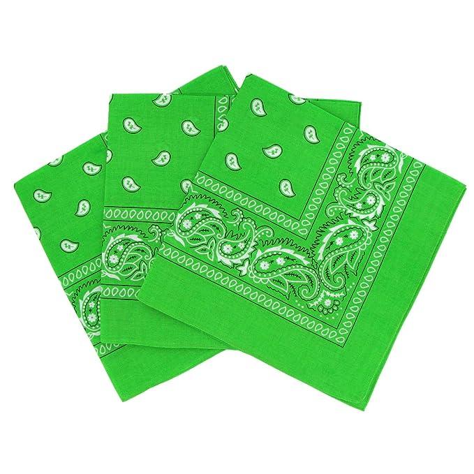 ed34eaf138c2 Lot de 3 bandanas paisley vert clair- Foulard coton motif cachemire vendu  par 3
