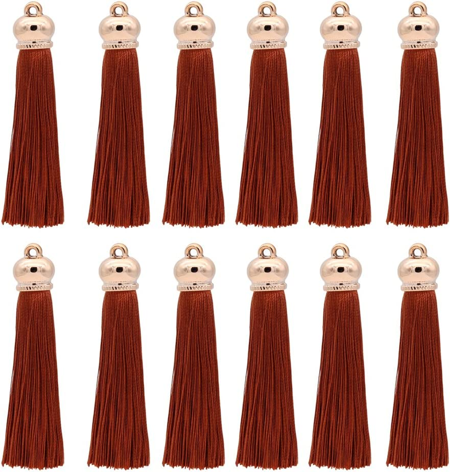 Earring Light brown Handbag Pendant,12pcs Curtain Winrase 80mm Polyester Soft Tassel Ice Silk Tassel End Stopper Pendant Connectors with Gold Tassels Cap for DIY Jewelry Accessories Making