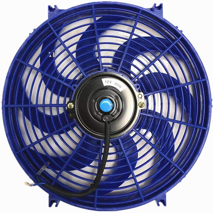 Upgr8 Universal High Performance 12V Slim Straight Blades Electric Cooling Radiator Fan With Fan Mounting Kit (14 Inch, Blue)