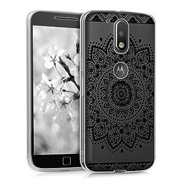 kwmobile Funda para Motorola Moto G4 / Moto G4 Plus - Carcasa de [TPU] para móvil y diseño de Flor en [Negro/Transparente]