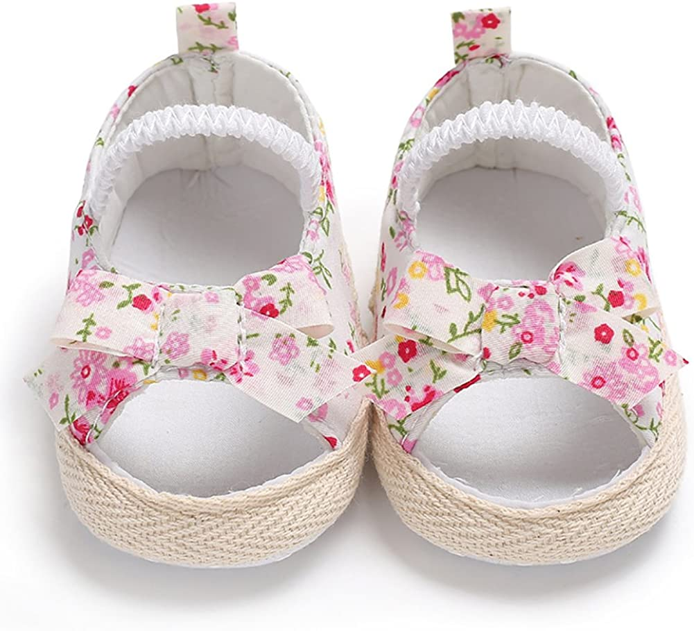 quyysvnvqt Summer Baby Shoes Newborn Baby Girl Princess Floral Print Bowknot Canvas Shoes Sandals Gift