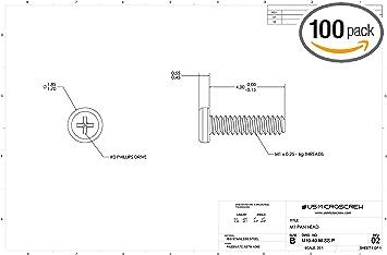 M1.2-0.25 X 4mm Machine Screw Stainless Steel Pan Head 6-Lobe Drive 100 Pcs M12-40-M-SS-PT US Micro Screw