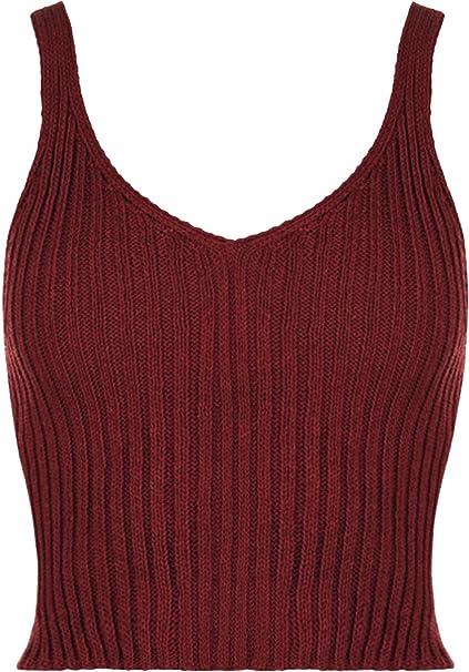 Camiseta tejida de tirantes para mujer con cuello en V, diseño crop top