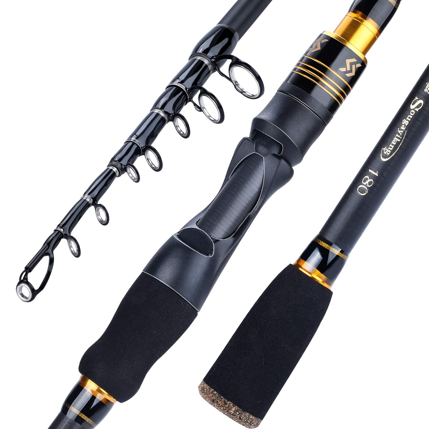 Sougayilang Fishing Rod, 24-Ton Carbon Fiber Telescopic Fishing Pole, Spinning Casting Rod Designed for Bass, for Fresh Saltwater