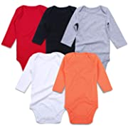 ROMPERINBOX Unisex Solid Multicolor Baby Bodysuits 0-24 Months (Black White Grey Red Orange Long Sleeve 5 Pack, 0-3 Months)