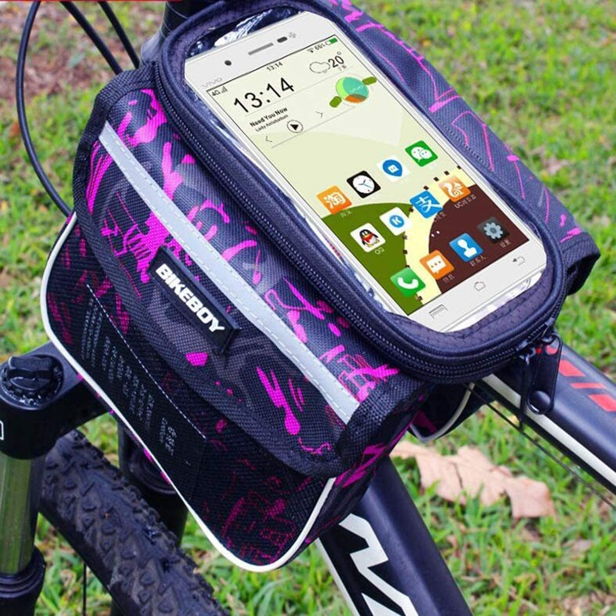 Touch Screen Retained Waterproof Bicycle Bags Cycling 6.2inch less Mobile Phone Bags Pouch Bike Frame Front Head Top Tube Bags