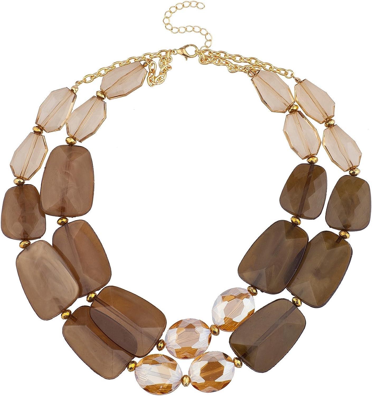 Lux Accessories Gold tone Brown Elegant Gemstones Collar Statement Necklace
