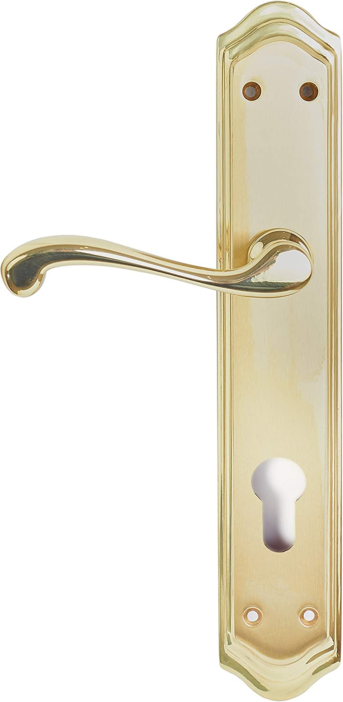 Manivela izquierda de latón fabricado en España. Color dorado mate y brillo. Barnizado semi-brillo. Medida placa: 270x49 mm.